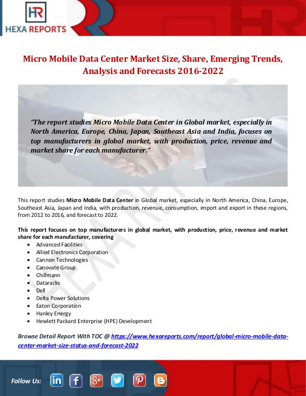Hexa Reports Micro Mobile Data Center Market Size, Share, Emerg