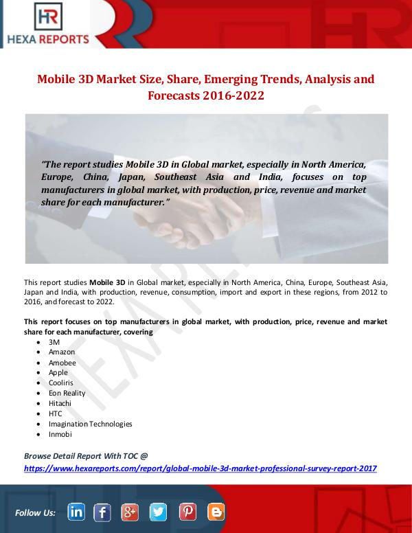 Mobile 3D Market Size, Share, Emerging Trends, Ana