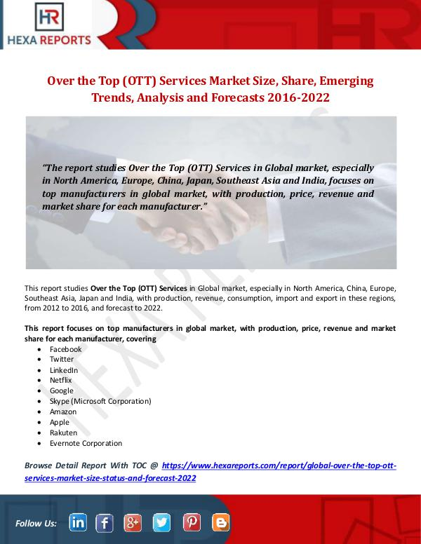 Hexa Reports Over the Top (OTT) Services Market Size, Share, Em