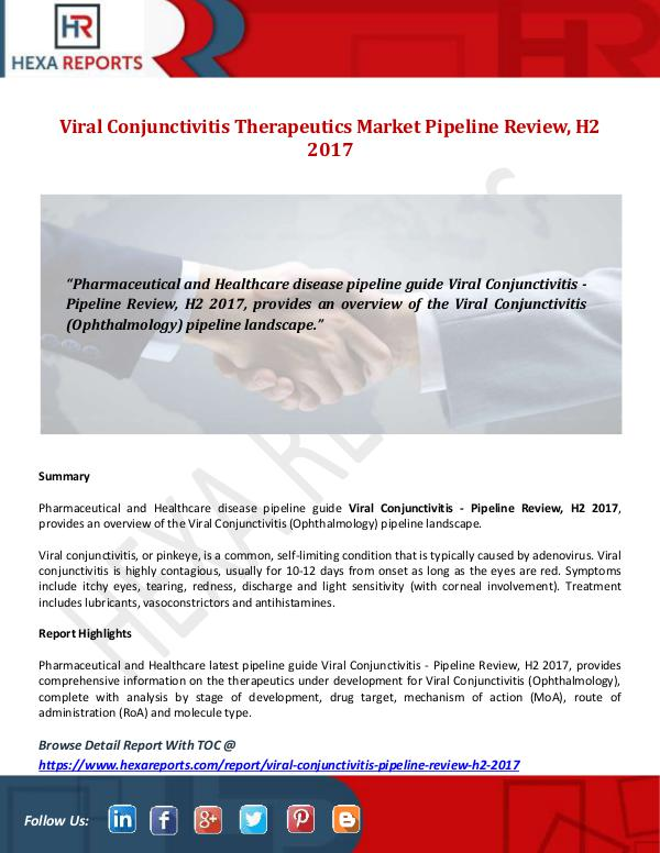 Hexa Reports Viral Conjunctivitis Therapeutics Market Pipeline