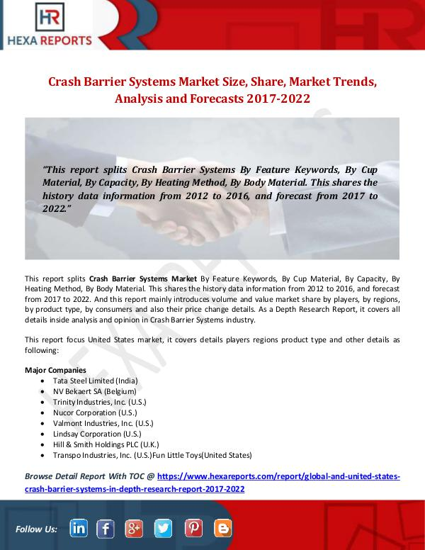 Hexa Reports Crash Barrier Systems Market Size, Share, Market T
