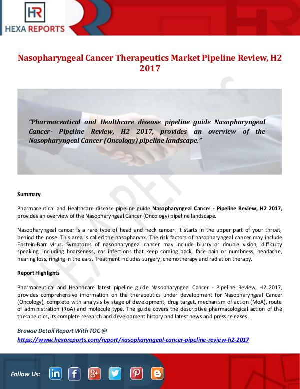 Hexa Reports Nasopharyngeal Cancer Therapeutics Market Pipeline