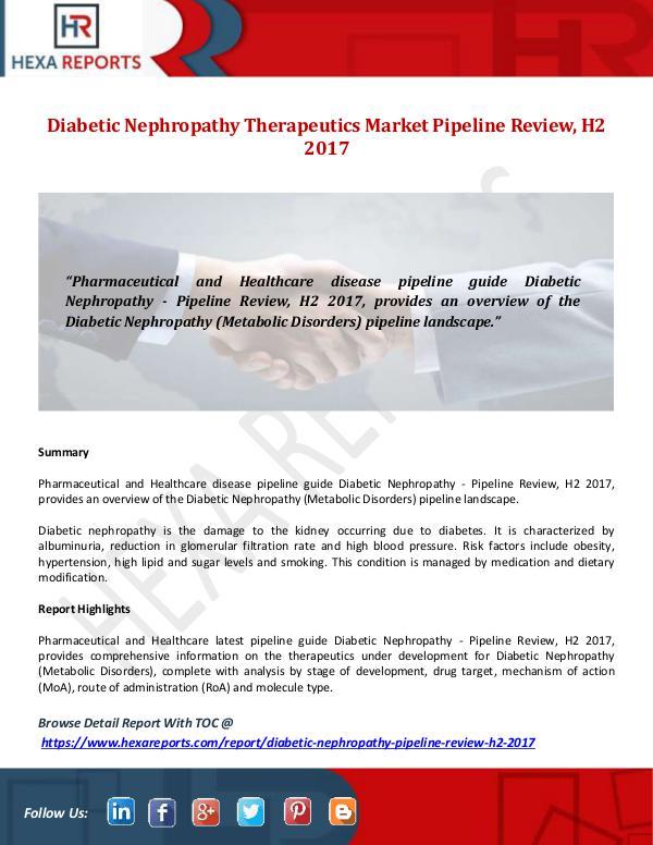 Hexa Reports Diabetic Nephropathy Therapeutics Market Pipeline