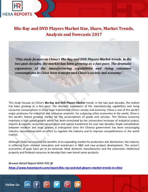Hexa Reports Blu-Ray and DVD Players Market Size, Share, Market