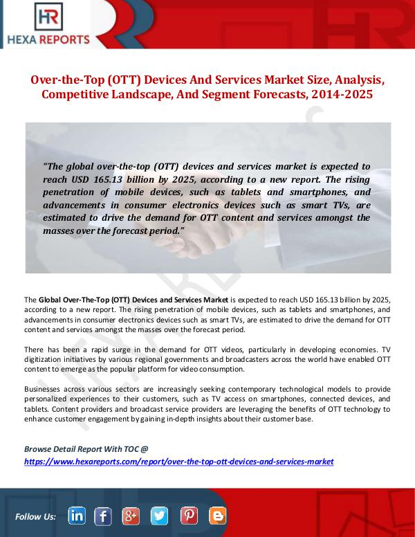 Hexa Reports Over-the-Top (OTT) Devices And Services Market Siz