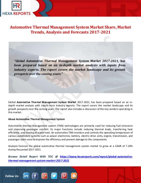 Hexa Reports Automotive Thermal Management System Market Share,