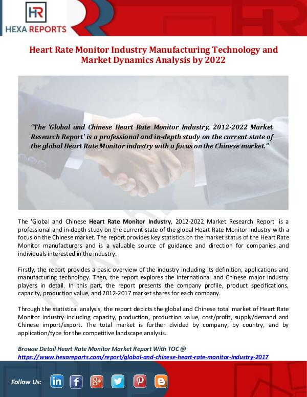Heart Rate Monitor Industry Manufacturing Technolo