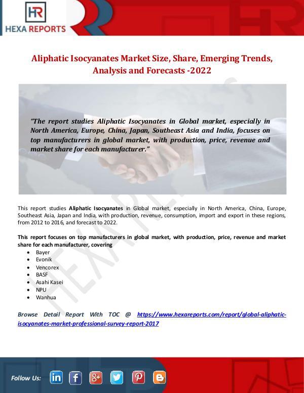 Aliphatic Isocyanates Market Size, Share, Emerging