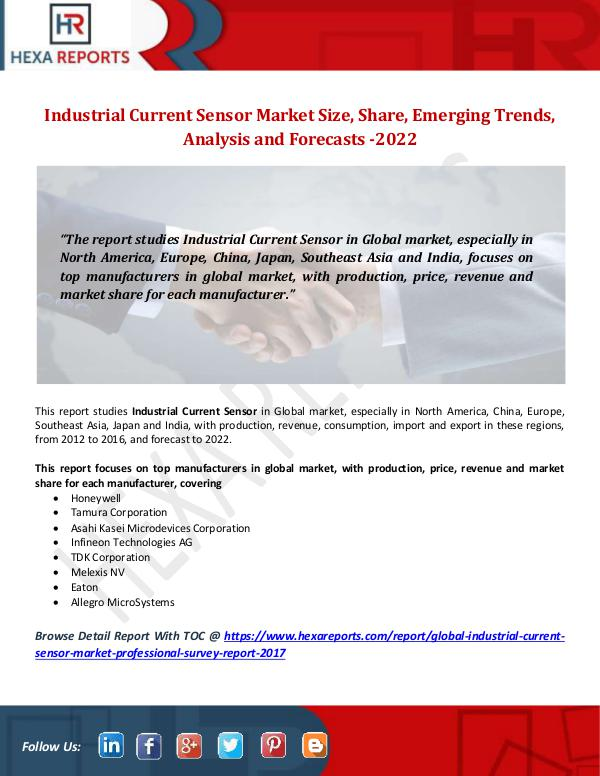 Hexa Reports Industrial Current Sensor Market Size, Share, Emer