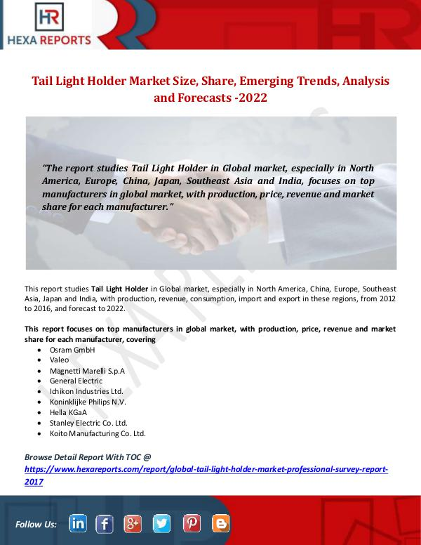 Tail Light Holder Market Size, Share, Emerging Tre