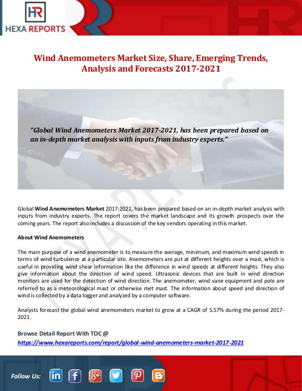 Wind Anemometers Market Size, Share, Emerging Tren