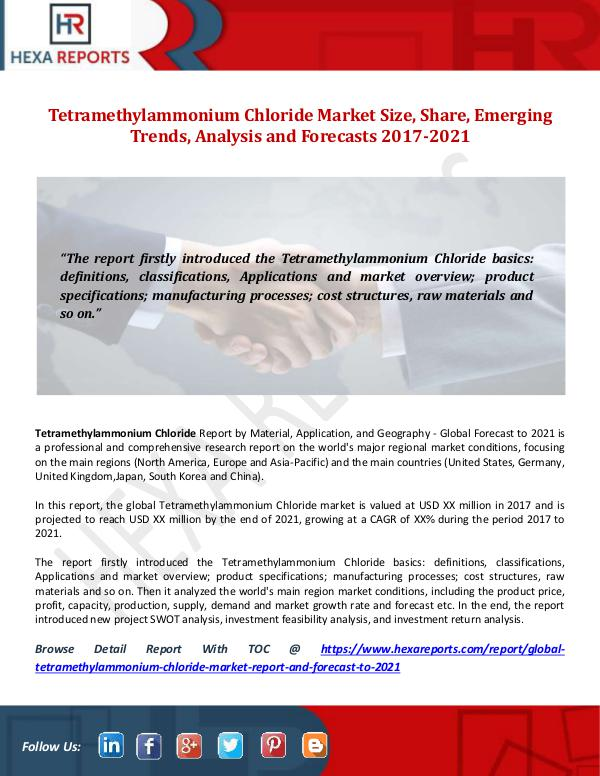 Hexa Reports Tetramethylammonium Chloride Market Size, Share, E