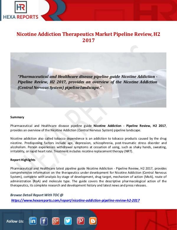 Nicotine Addiction Therapeutics Market Pipeline Re