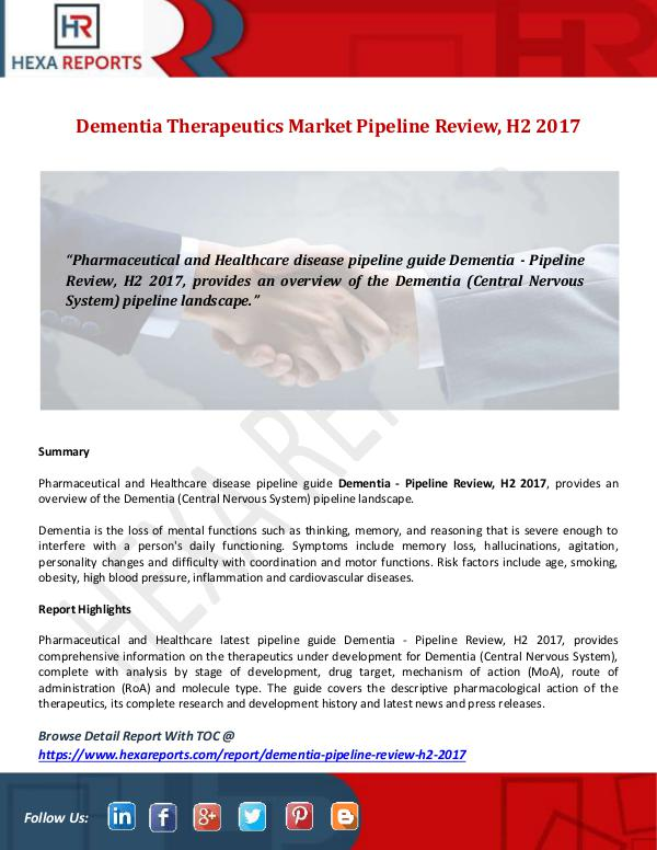 Dementia Therapeutics Market Pipeline Review, H2 2