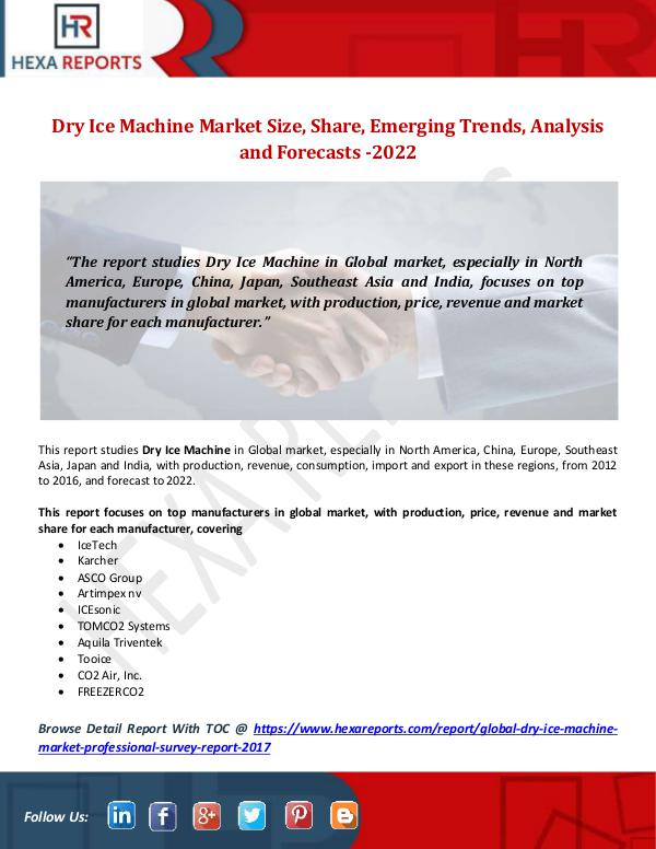Dry Ice Machine Market Size, Share, Emerging Trend