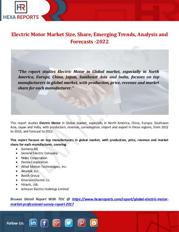 Electric Motor Market Size, Share, Emerging Trends