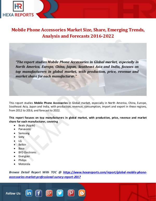 Hexa Reports Mobile Phone Accessories Market Size, Share, Emerg