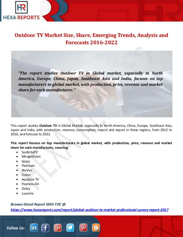 Hexa Reports Outdoor TV Market Size, Share, Emerging Trends, An