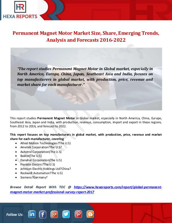 Hexa Reports Permanent Magnet Motor Market Size, Share, Emergin