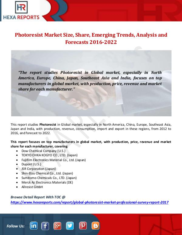 Hexa Reports Photoresist Market Size, Share, Emerging Trends, A