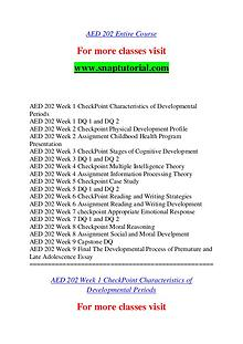AED 202 help A Guide to career/Snaptutorial