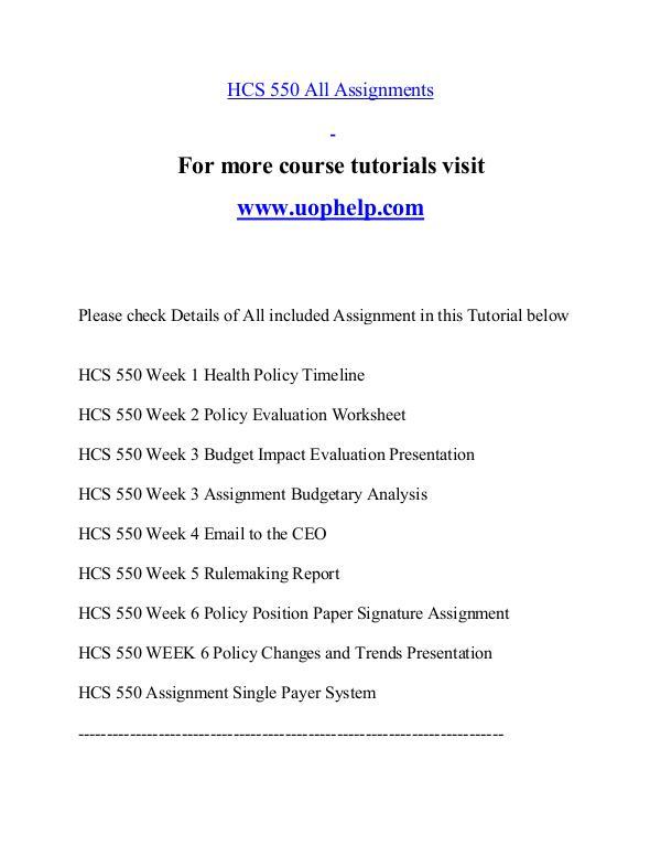 HCS 550 help Minds Online/uophelp.com HCS 550 help Minds Online/uophelp.com