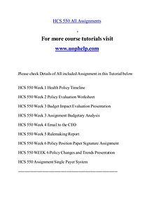 HCS 550 help Minds Online/uophelp.com