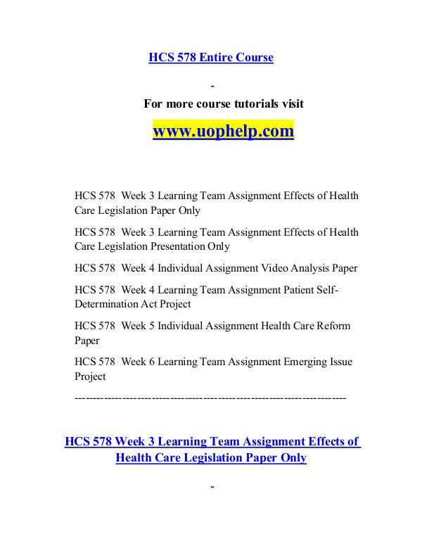 HCS 578 help Minds Online/uophelp.com HCS 578 help Minds Online/uophelp.com