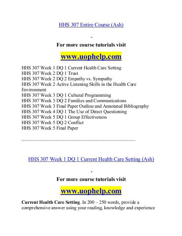 HHS 307(ash) help Minds Online/uophelp.com HHS 307(ash) help Minds Online/uophelp.com