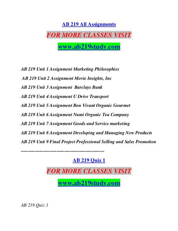 AB 219 STUDY  Start With a Dream /ab219study.com AB 219 STUDY  Start With a Dream /ab219study.com