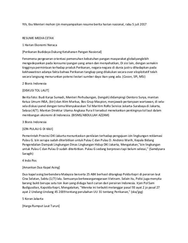 Resume Media Harian Nasional 5 Juli 2017