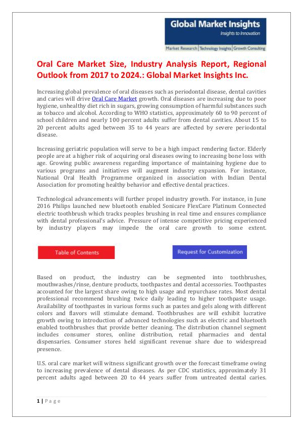 GMI Oral Care Market