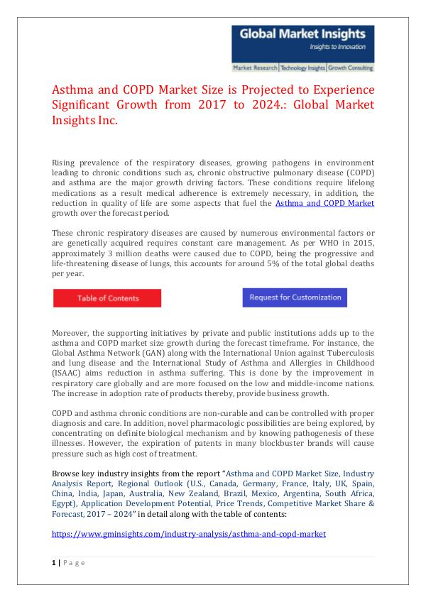 GMI Asthma and COPD Market: Global Industry Analysis,