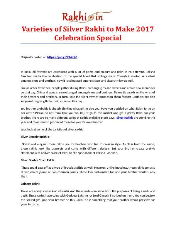 Premium Assortment of Rakhis and Gifts at Rakhi.in Varieties of Silver Rakhi to Make 2017 Celebration