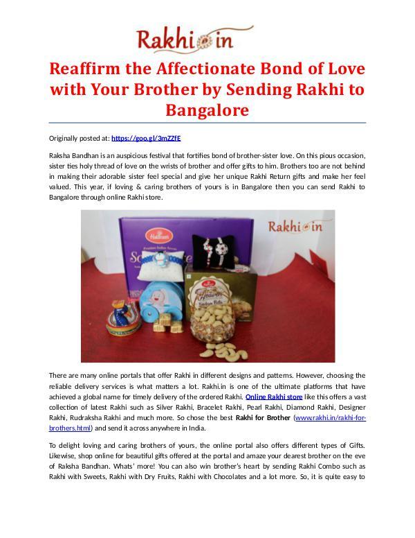 Premium Assortment of Rakhis and Gifts at Rakhi.in Bond of Love by Sending Rakhi to Bangalore