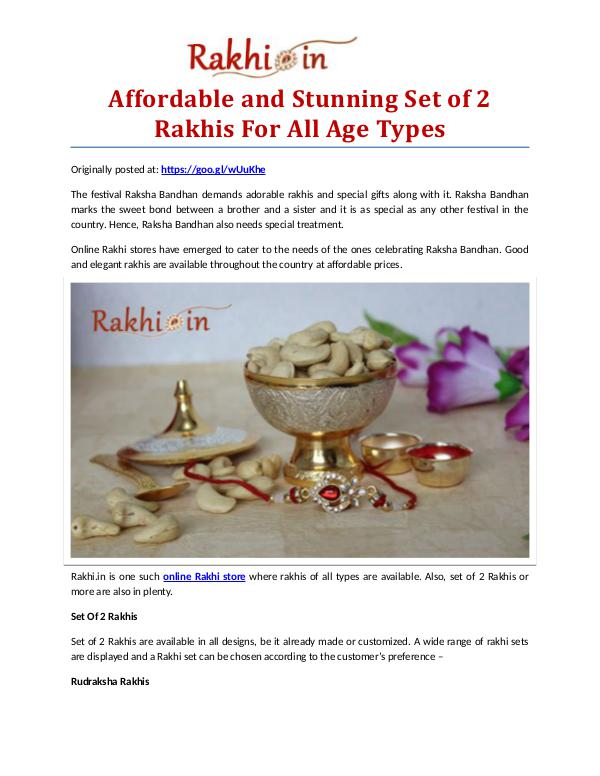 Premium Assortment of Rakhis and Gifts at Rakhi.in Affordable and Stunning Set of 2 Rakhis For All