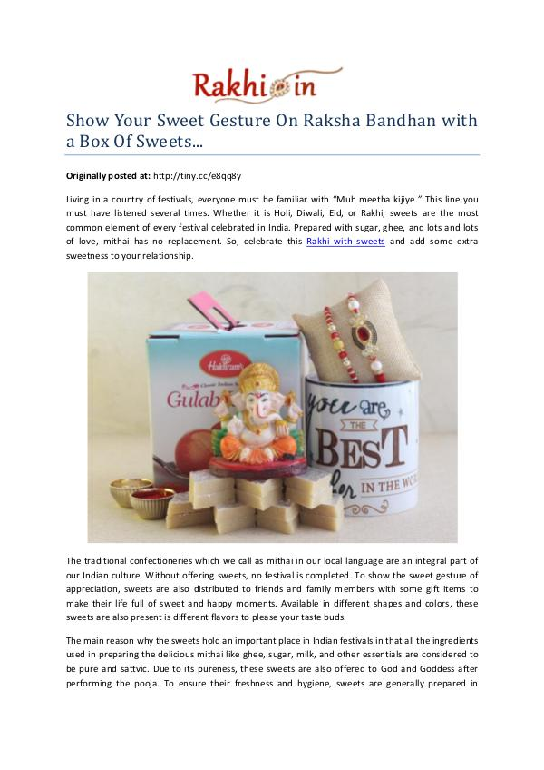 Show Your Sweet Gesture On Raksha Bandhan with a Box Of Sweets... Show Your Sweet Gesture On Raksha Bandhan with a B