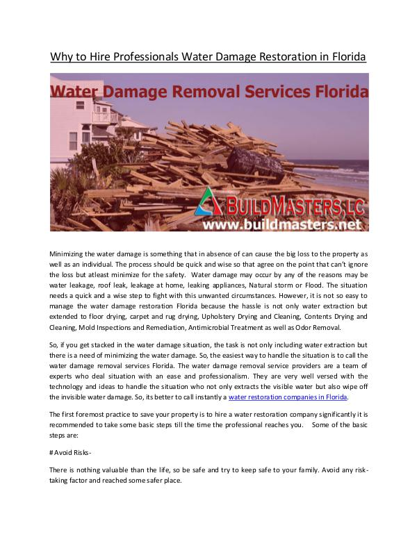 Build Masters, LC Why to Hire Professionals Water Damage Restoration