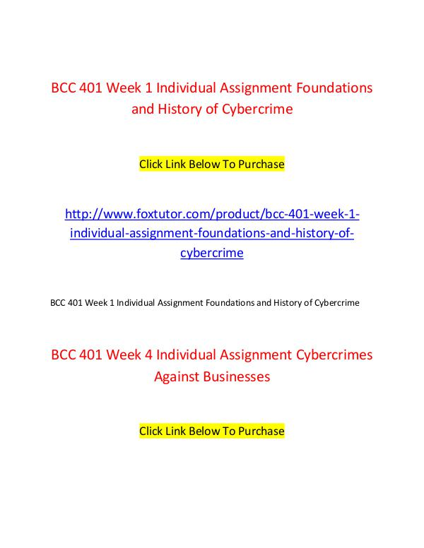 BCC 401 All Assignments BCC 401 All Assignments
