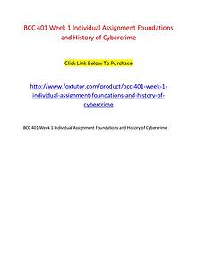 BCC 401 Week 1 Individual Assignment Foundations and History of Cyber