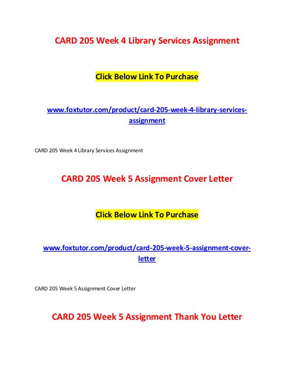 CARD 205 All Assignments CARD 205 All Assignments