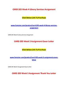 CARD 205 All Assignments