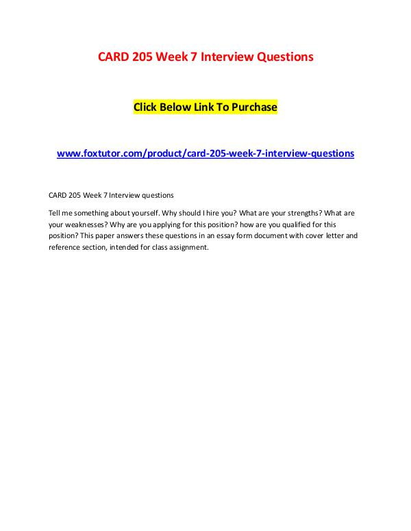 CARD 205 Week 7 Interview Questions CARD 205 Week 7 Interview Questions
