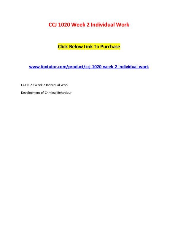 CCJ 1020 Week 2 Individual Work CCJ 1020 Week 2 Individual Work