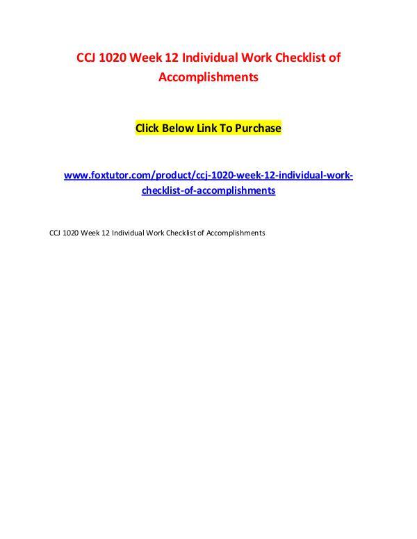 CCJ 1020 Week 12 Individual Work Checklist of Accomplishments CCJ 1020 Week 12 Individual Work Checklist of Acco