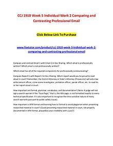 CCJ 1910 Week 5 Individual Work 2 Comparing and Contrasting Professio