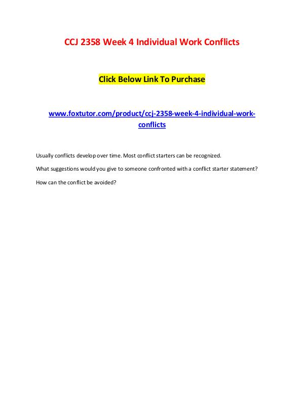 CCJ 2358 Week 4 Individual Work Conflicts CCJ 2358 Week 4 Individual Work Conflicts