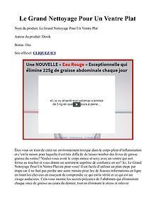 Le Grand Nettoyage Pour Un Ventre Plat PDF / Livre Gratuit Télécharge