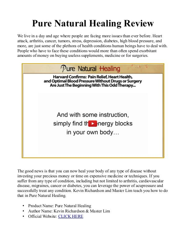 Pure Natural Healing PDF / eBook Free Download Master Lim's Pure Natural Healing Book Review