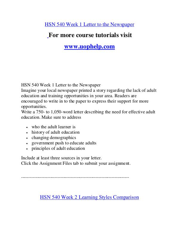 HSN 540 Help A Clearer path to student success/uophelp.com HSN 540 Help A Clearer path to student success/uop